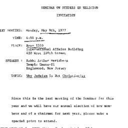 Announcements, 1977-05-09. ...