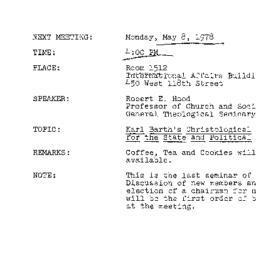Announcements, 1978-05-08. ...