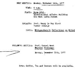 Announcements, 1977-11-14. ...