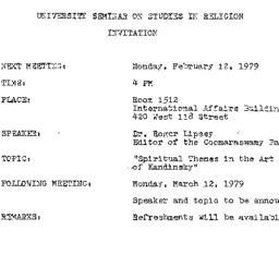 Announcements, 1979-02-12. ...