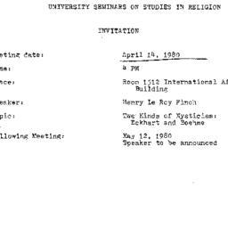 Announcements, 1980-04-14. ...