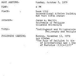 Announcements, 1979-10-08. ...