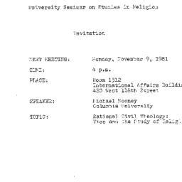 Announcements, 1981-11-09. ...