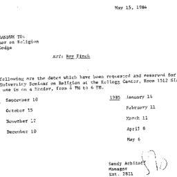 Announcements, 1984-05-15. ...