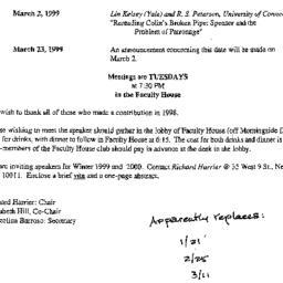 Correspondence, 1999-01-21....