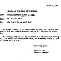 Announcements, 1964-03-02. ...