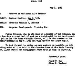 Announcements, 1964-05-04. ...