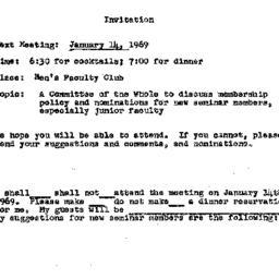 Announcements, 1969-01-14. ...