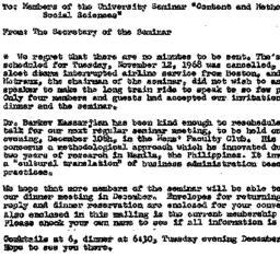 Announcements, 1968-12-10. ...