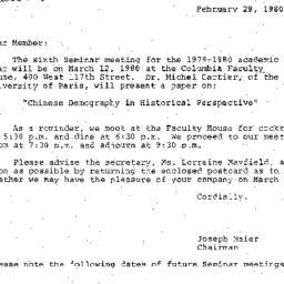Correspondence, 1980-02-29....
