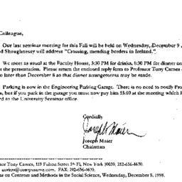 Correspondence, 1998-12-01....