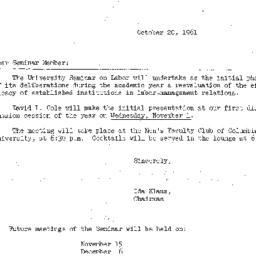 Announcements, 1961-10-20. ...
