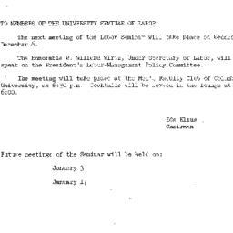 Announcements, 1961-11-27. ...