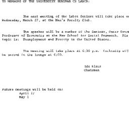 Announcements, 1963-03-18. ...
