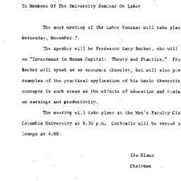 Announcements, 1962-10-29. ...