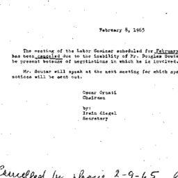 Announcements, 1965-02-08. ...