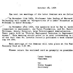 Announcements, 1964-10-28. ...
