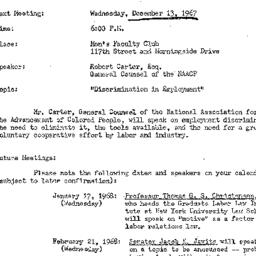 Announcements, 1967-12-13. ...
