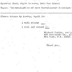 Announcements, 1969-04-16. ...