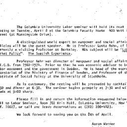 Announcements, 1980-03-20. ...