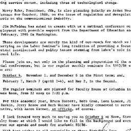 Announcements, 1985-09-18. ...