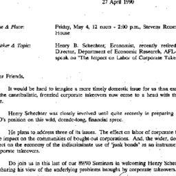 Announcements, 1990-04-27. ...