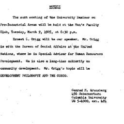Announcements, 1965-03-09. ...