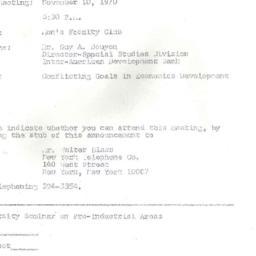 Announcements, 1970-11-10. ...
