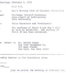 Announcements, 1971-02-02. ...