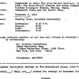 Announcements, 1972-11-02. ...