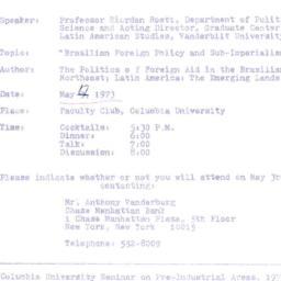 Announcements, 1973-05-17. ...