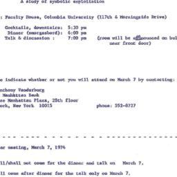 Announcements, 1974-03-07. ...