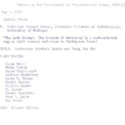 Minutes, 1975-05-01. Develo...