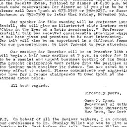Announcements, 1975-11-09. ...