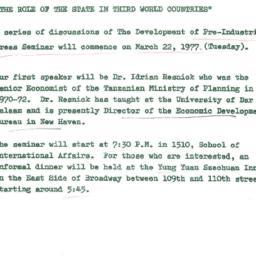 Announcements, 1977-03-22. ...