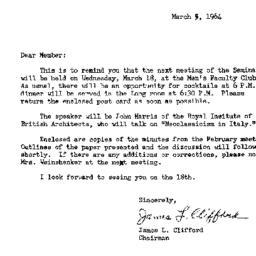 Announcements, 1964-03-05. ...