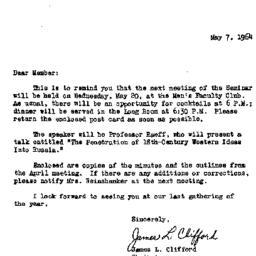Announcements, 1964-05-07. ...