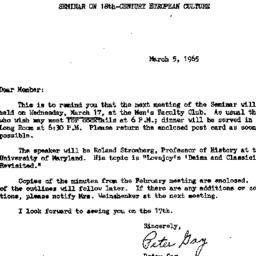 Announcements, 1965-03-05. ...