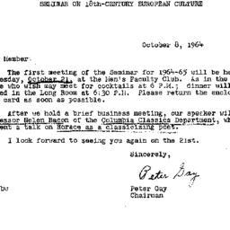 Announcements, 1964-10-08. ...