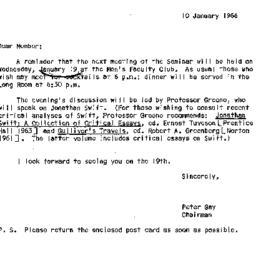 Announcements, 1966-01-10. ...
