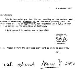 Announcements, 1965-11-08. ...