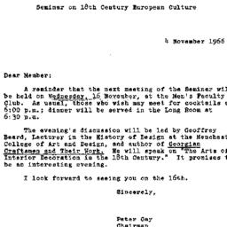 Announcements, 1966-11-04. ...