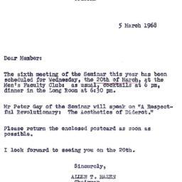 Announcements, 1968-03-05. ...