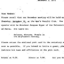 Announcements, 1971-12-03. ...