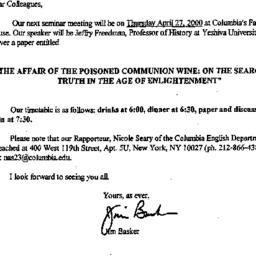 Announcements, 2000-03-31. ...