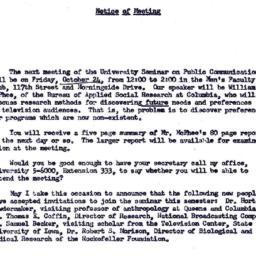 Announcements, 1958-10-24. ...