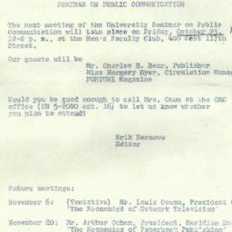 Announcements, 1959-10-23. ...