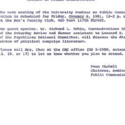 Announcements, 1961-01-06. ...