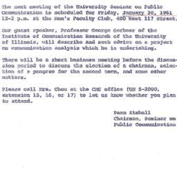 Announcements, 1961-01-20. ...