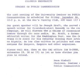 Announcements, 1960-12-16. ...